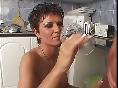 Horny chick banged in the kitchen