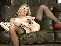 Scarlet sexy milf stocking heels fingering