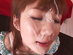 Japanese brunette sucks for pearly jizz between her eyes