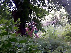 Couple caught in woods