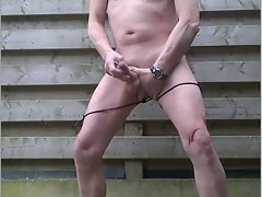 masked outdoor wank my bdsm dick with cumshot