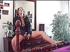 MILF squirting on dresser