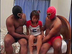 Anal creampie and BBC DP for Japanese girl