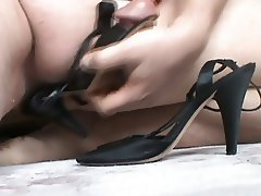 Wife's silky high heel sandals fucked and cummed