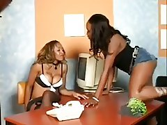 These chicks fuck in the break room