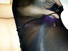 wife in tights with toys