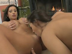 Amazing Hungarian Lesbian's hot dildo party