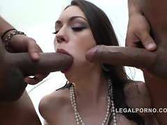 3 cocks pissing in her mouth