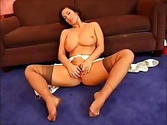 Busty Brunette Milf play with her pussy in nylon stockings