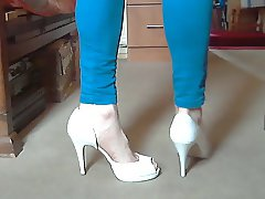Trotting in my new white heels