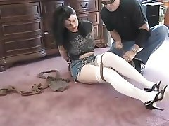 Girl Tied With Pantyhoses