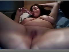 Fat BBW Ex GF masturbating her wet Pussy with a Vibrator