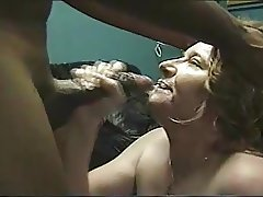 black hubby gushes big load in her face