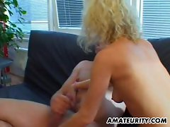 Amateur girlfriend sucks and fucks with cum