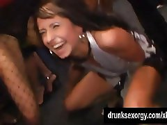 Superb chicks dancing and fucking in club