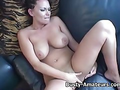 Busty Leslie fingering her pussy