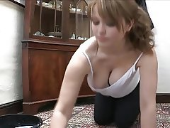Louise's boobs pop out while she's scrubbing the floor