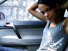 Latina Strips Naked in the Car