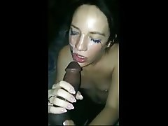 Sucking big black cock