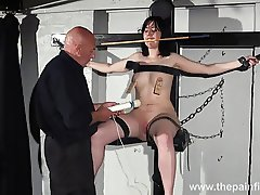 Enslaved Honesty Cabellero nipple clamped and spanked