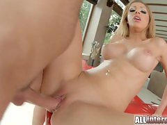 Allinternal pretty blonde sucks cock