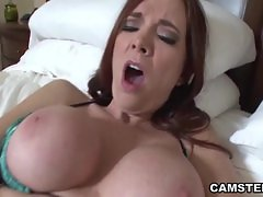 Big tits brunette pleasuring her shaved pussy