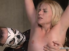 Blonde slave gets pussy pegged and flogged