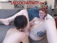 Lesbian stepsisters have fun on cam