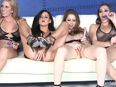 Four gorgeous pornstars masturbate together