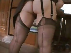 Wanking for husband in stockings suspenders and high heels