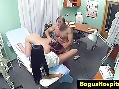 Stunning nurse fucks patient with doctor