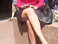 Blonde business girl legs and face
