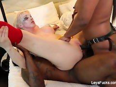 Dressed up Leya gets DP'd with a black cock and a strap on