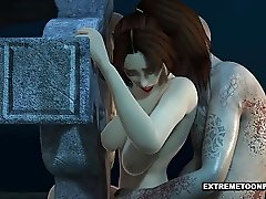 3D Babe Fucked in a Graveyard by a Zombie