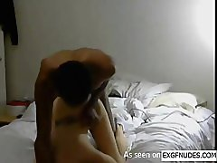 Horny black guy fucking slim white chick from