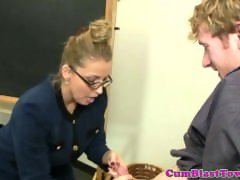 Handjob teacher tugging dick after class
