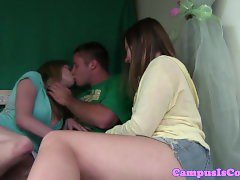 Broken arm coed teen doggystyle banged