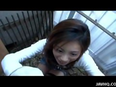 Slutty Asian chick strokes the cock in pov