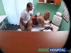 FakeHospital New nurse takes double cumshot from horny doctor