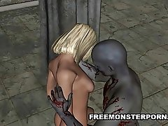 Hot 3D Blonde Fucked by a Zombie