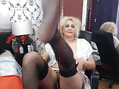 blonde mature stockings cam