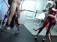 Hot latex mistress CBT and Whipping lucky slave