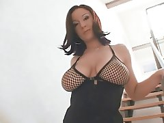 Brunette gets her pussy stretched by a big black cock