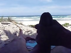 Wife pulling me off on the beach Pt3