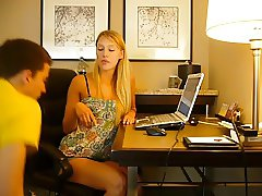 Blonde Mistress abusing a nerd slave