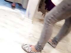 her sexy feet under changing room
