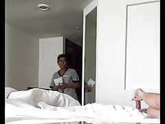 Hotel Maid catches me stroking my cock!