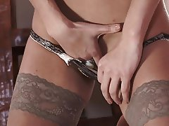 Brunette Latina milf in sexy stockings and lingerie