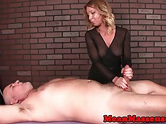 Femdom masseuse uses vibrator to ruin orgasm