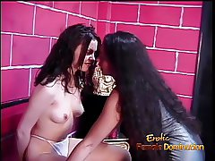Naughty and hot BDSM lesbian session featuring two raven